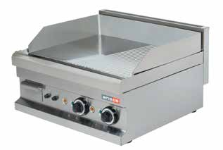 EG606 (Chr) 600x600x265 62 0,16 5400 380V, 3~, 50Hz 1.090 Electric Smooth surface (15 mm) Carbon steel plate. Removable fat container.