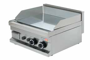GG606 (Chr) 600x600x265 55 0,17 2x4800 Gas Smooth surface (15 mm) and natural gas heated. Stainless steel burners with piezo ignition, safety valve and thermocouple. EAN 8699234412172 1.