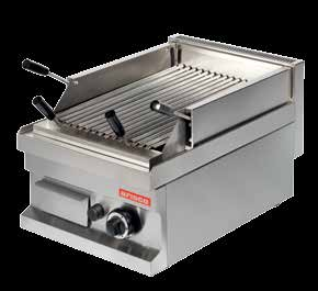 GGL604 400x600x265 29 0,11 4800 748 LAVA CHAR GRILL Gas Lavastone and natural gas heated. Stainless steel burner with piezo ignition, safety valve and thermocouple.