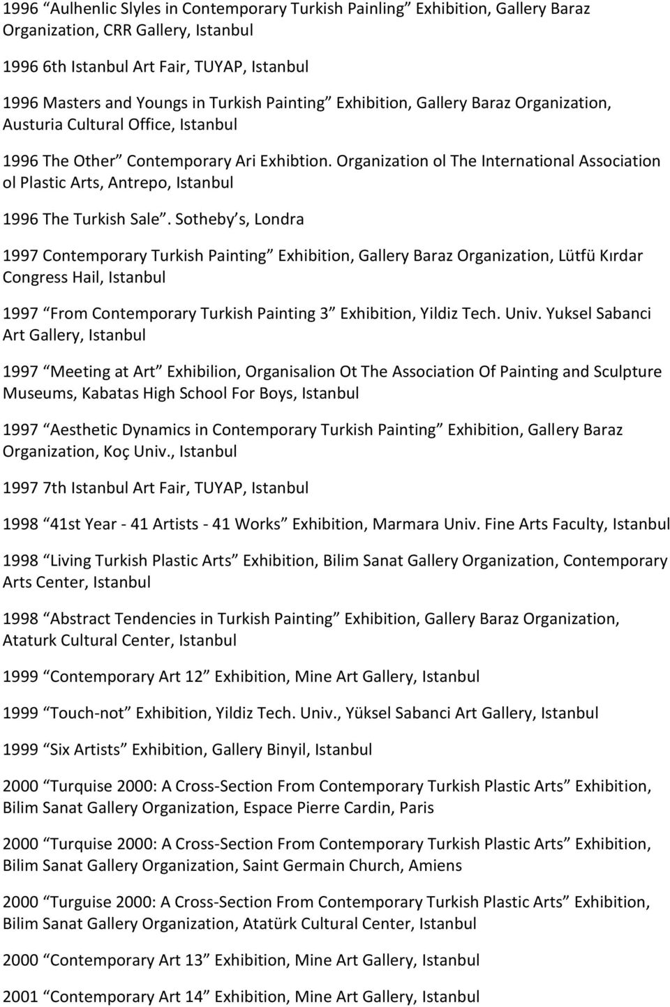 Sotheby s, Londra 1997 Contemporary Turkish Painting Exhibition, Gallery Baraz Organization, Lütfü Kırdar Congress Hail, 1997 From Contemporary Turkish Painting 3 Exhibition, Yildiz Tech. Univ.
