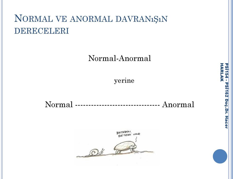Normal-Anormal yerine