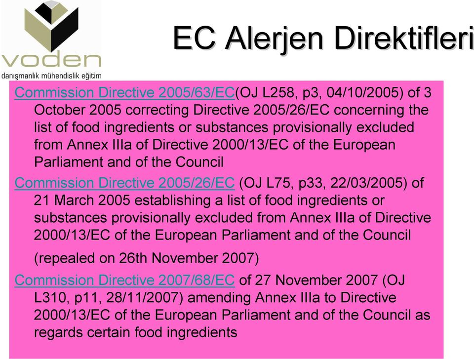 establishing a list of food ingredients or substances provisionally excluded from Annex IIIa of Directive 2000/13/EC of the European Parliament and of the Council (repealed on 26th November