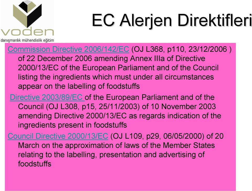 Parliament and of the Council (OJ L308, p15, 25/11/2003) of 10 November 2003 amending Directive 2000/13/EC as regards indication of the ingredients present in foodstuffs