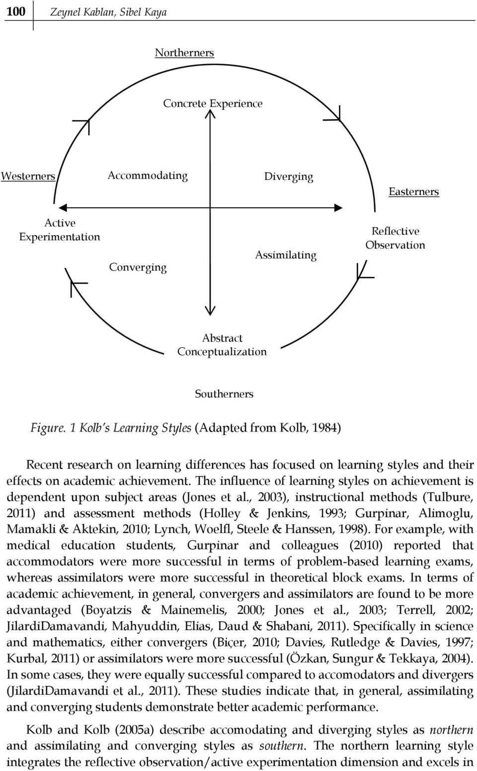 1 Kolb s Learning Styles (Adapted from Kolb, 1984) Recent research on learning differences has focused on learning styles and their effects on academic achievement.