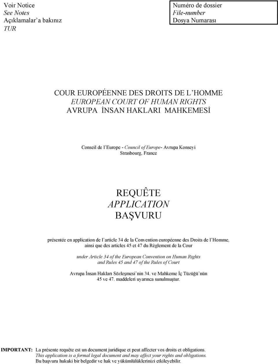 ainsi que des articles 45 et 47 du Règlement de la Cour under Article 34 of the European Convention on Human Rights and Rules 45 and 47 of the Rules of Court Avrupa İnsan Hakları Sözleşmesi nin 34.