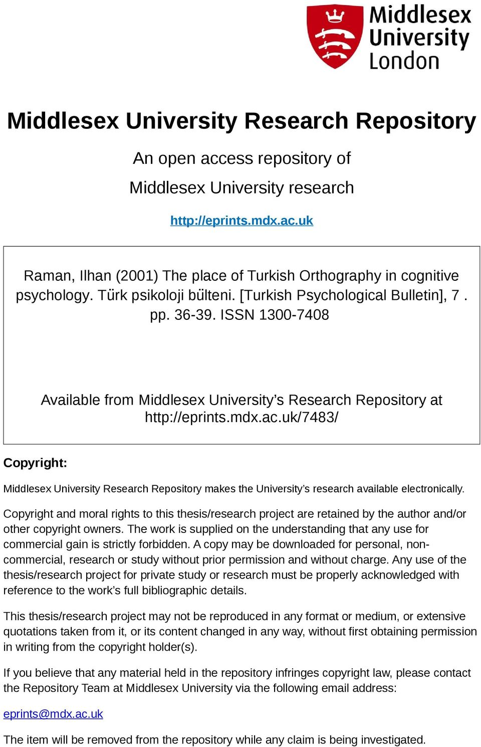 uk/7483/ Copyright: Middlesex University Research Repository makes the University s research available electronically.