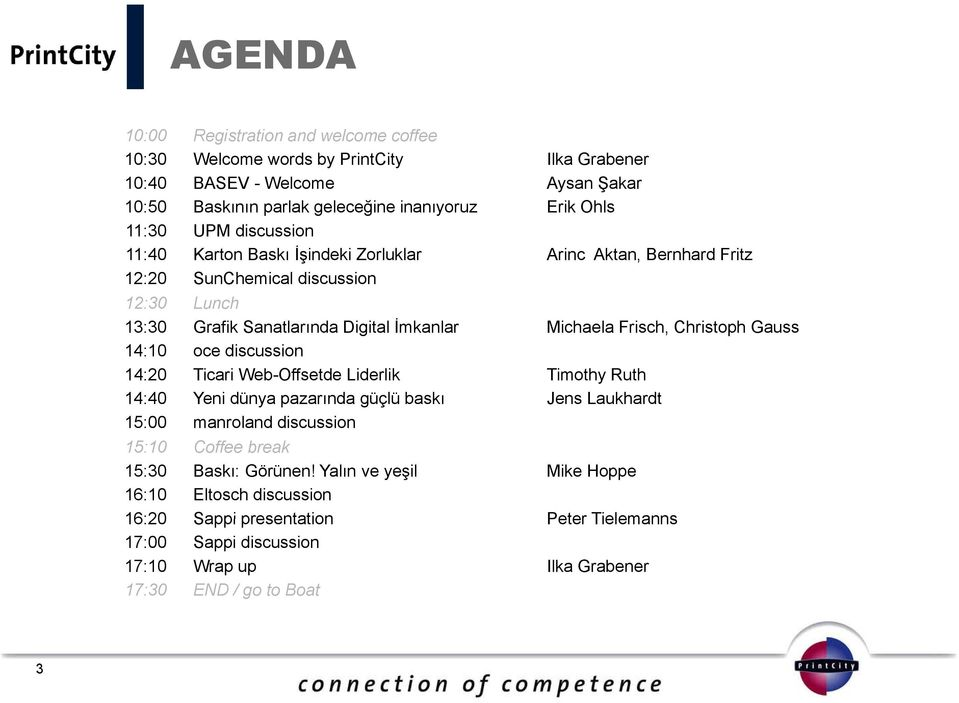 Christoph Gauss 14:10 oce discussion 14:20 Ticari Web-Offsetde Liderlik Timothy Ruth 14:40 Yeni dünya pazarında güçlü baskı Jens Laukhardt 15:00 manroland discussioni 15:10 Coffee break