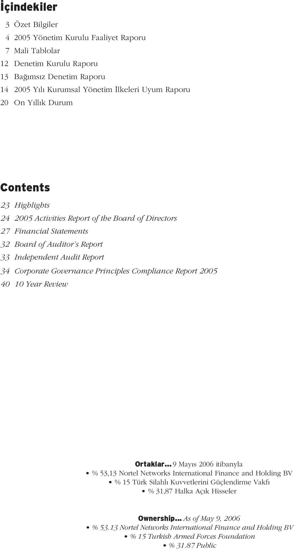 Governance Principles Compliance Report 2005 40 10 Year Review Ortaklar.