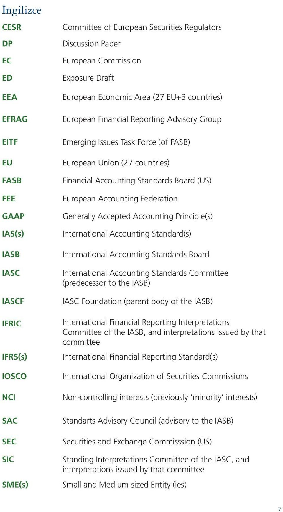 Accounting Standards Board (US) European Accounting Federation Generally Accepted Accounting Principle(s) International Accounting Standard(s) International Accounting Standards Board International