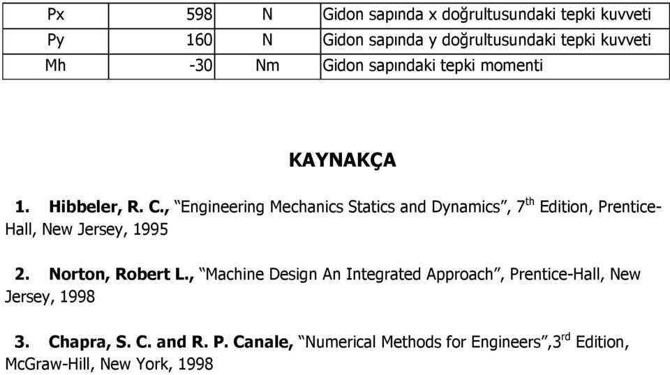 , Engineering Mechanics Statics and Dynamics, 7 th Edition, Prentice- Hall, New Jersey, 1995 2. Norton, Robert L.