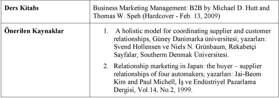 A holistic model for coordinating supplier and customer relationships, Güney Danimarka üniversitesi; yazarları: Svend Hollensen ve