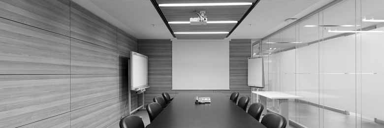 Horizontal effected melamin panels fixed in a meeting room.