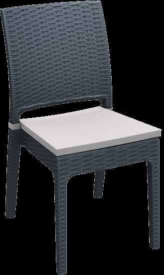 FLORIDA-C Polypropylene Florida with non-fixed fabric cushion applied to seating base.