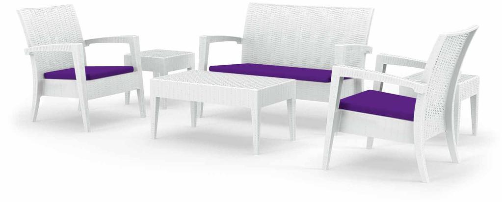 MIAMI LOUNGE SET-C Polypropylene Miami Lounge Rattan Set with non-fixed fabric cushion applied to seating base.