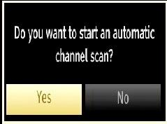 Press OK button on the remote control to continue and the following message will be displayed on the screen: Aerial Installation If you select AERIAL option from the Search Type