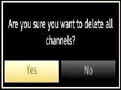 Use this setting to clear channels stored. Press or button to select Clear Service List and then press OK.