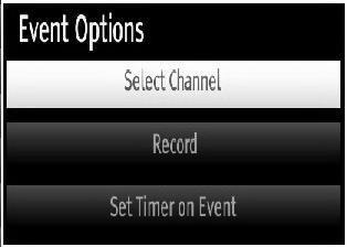 Recording via EPG Screen IMPORTANT: To record a programme, you should fi rst connect a USB disk to your TV while the TV is switched off. You should then switch on the TV to enable recording feature.