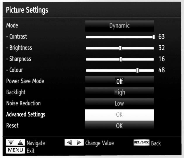 Configuring Picture Settings You can use different picture settings in detail. Press MENU button and select the Picture icon by using or button. Press OK button to view Picture Settings menu.