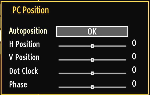 Source settings are identical to the settings explained in the main menu system. PC Position: Select this to display PC position menu items.