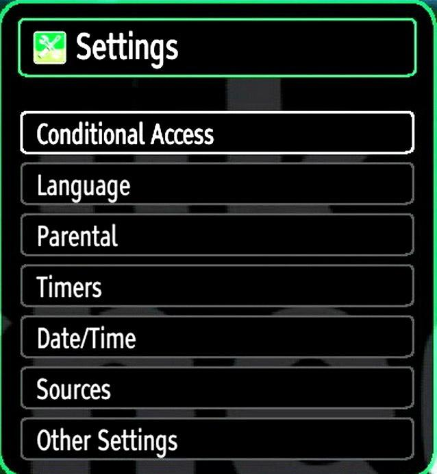 Configuring Your TV s Settings Detailed settings can be configured to suit your personal preferences. Press MENU button and select Settings ikon by using or button.