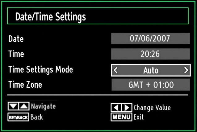 Configuring Date/Time Settings Select Date/Time in the Settings menu to configure Date/Time settings. Press OK button. Select Sources in the Settings menu and press OK button.