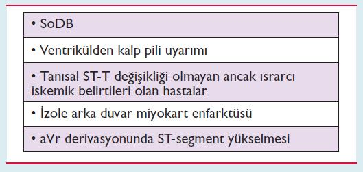 Dikkatli olunması gereken atipik EKG bulguları: ESC Guidelines for the management of acute coronary