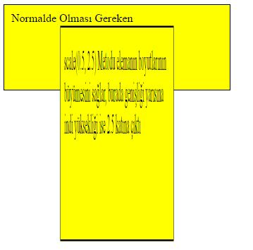<style> div { width: 300px; height: 100px; background-color: yellow; border: 1px solid black; padding:10px; }.etkilenen{ transform: scale(0.5, 2.