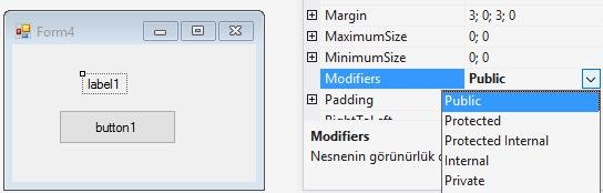 Formlar arası bilgi alışverişi private void button1_click(object sender, EventArgs e) Form1 f = new Form(); f.