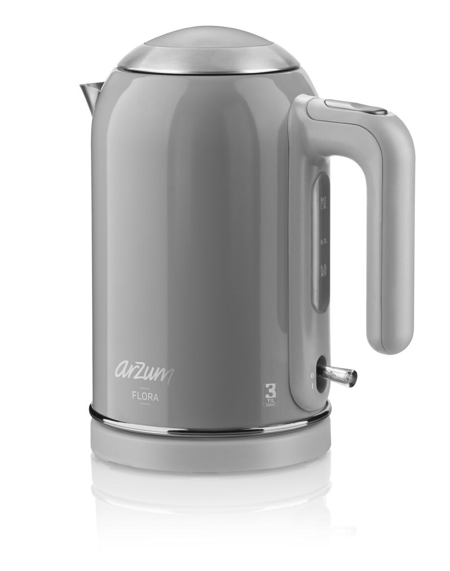 FLORA AR 3012 KETTLE WITH CONCEALED RESISTANCE 1- Lid fixed with hinge 2- Lid opening lock 3- Filter 4- Reservoir with 1 liter capacity 5- Water level indicator 6- Ergonomic