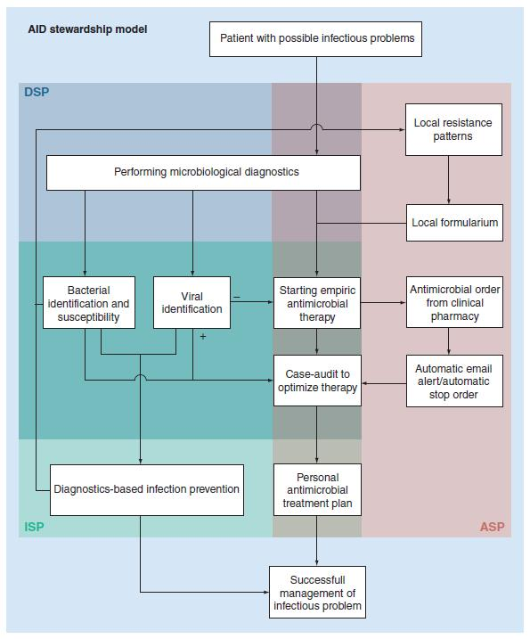 An integrated stewardship model: antimicrobial, infection prevention and diagnostic (AID)* ASP: Antimicrobial stewardship program