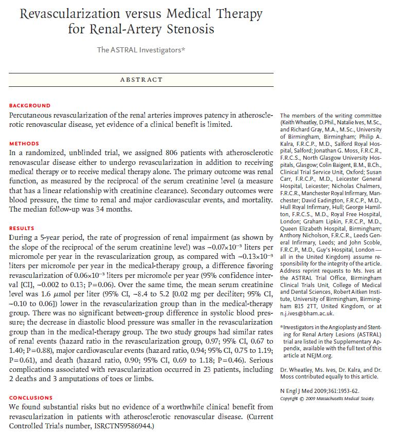 ASTRAL (Angioplasty and STenting for Renal Artery