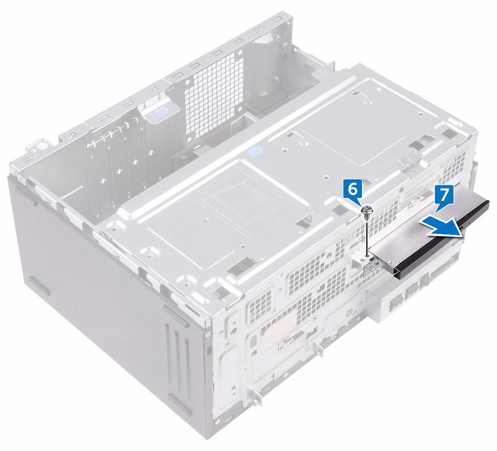 7 Gently slide the optical-drive assembly out of the optical-drive bay through the front of the