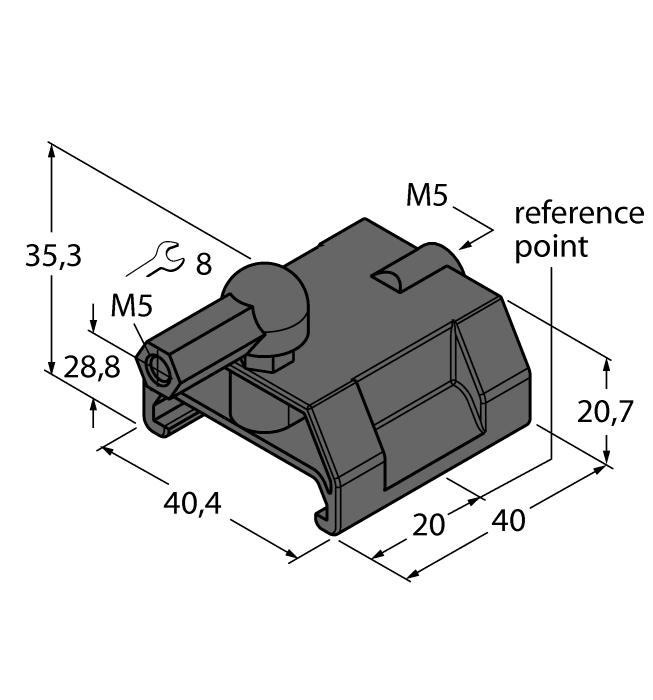 P1-LI-Q25L 6901041 Guided positioning element for Li-Q25L, inserted in the sensor guide.