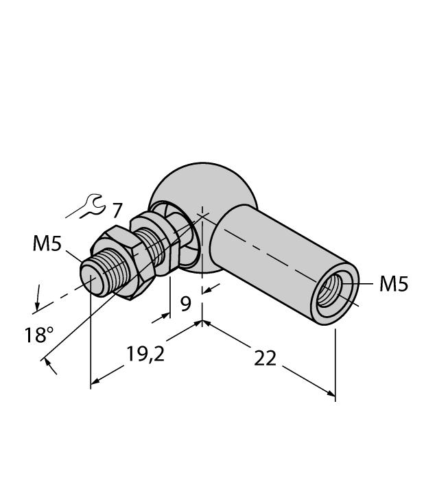 ABVA-M5 6901058 Axial joint for guided positioning element, stainless steel RBVA-M5