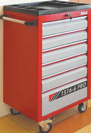 TOOL TROLLEY ITH DRAERS ith telescopic slides, drawers opening on one side. Maximum loading capacity 300 kg.