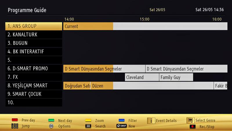 Electronic Programme Guide (EPG) Some, but not all channels send information about the current and next programmes. Press the GUIDE button to view the EPG menu. Up/Down/Left/Right: Navigate EPG.