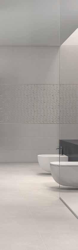 The Divine series, in which modern colors are blended with soft tones, will take you beyond time with its two wall tile options one with a silky satin surface and the other with a sparkling textured