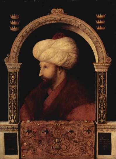 The bust portrait of Fatih (The Conqueror) on the frontage and an imagery depicting on a horse the tale of which was intertwined with Turkish style moving with a whip in his hand was placed on the