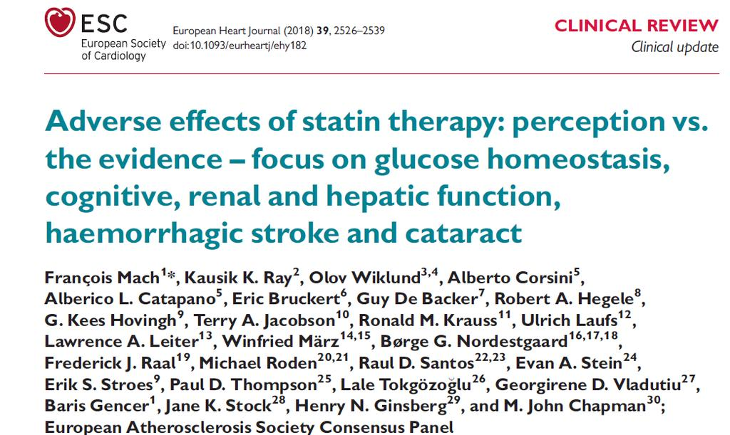 Statin Adverse effects Glucose homeostasis Cognitive