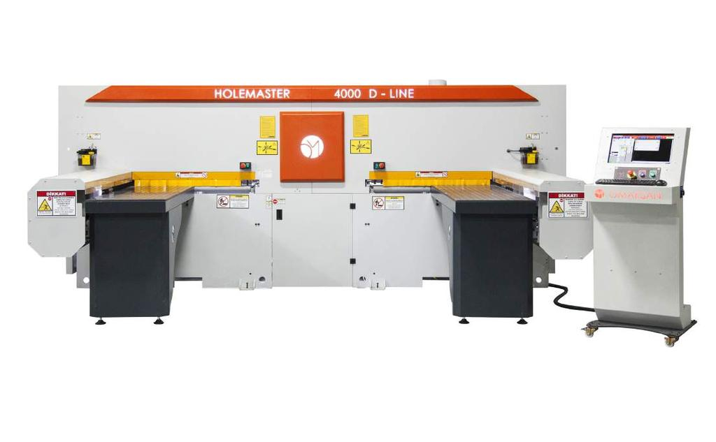 Holemaster 4000 D-LINE is a boring machine that opens the connection holes, routing operations in series and precisely in modular