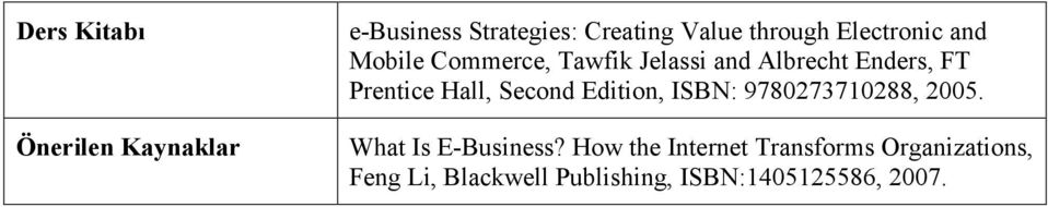 Hall, Second Edition, ISBN: 9780273710288, 2005. What Is E-Business?