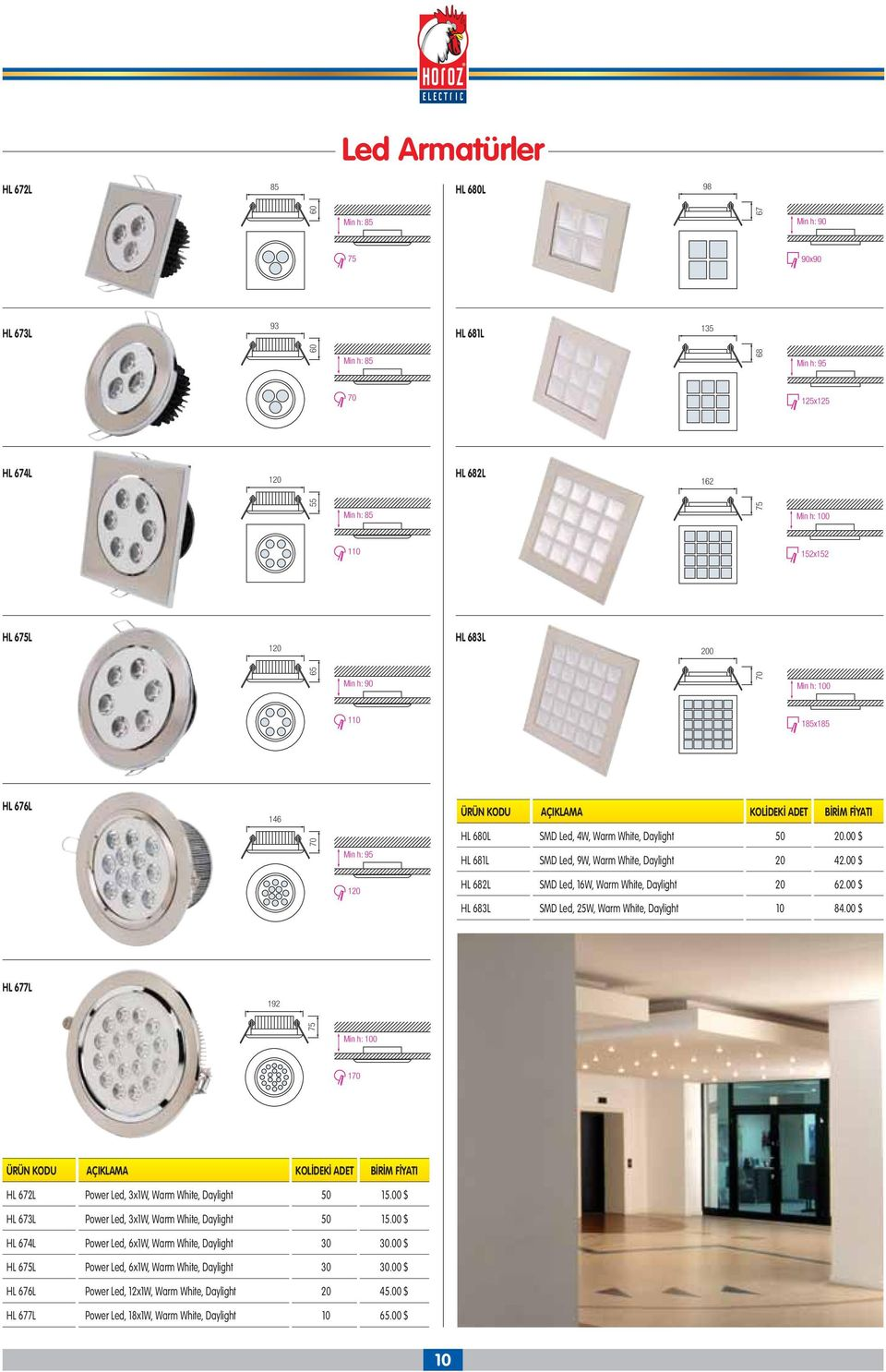 00 $ 120 HL 682L SMD Led, 16W, Warm White, Daylight 20 62.00 $ HL 683L SMD Led, 25W, Warm White, Daylight 10 84.