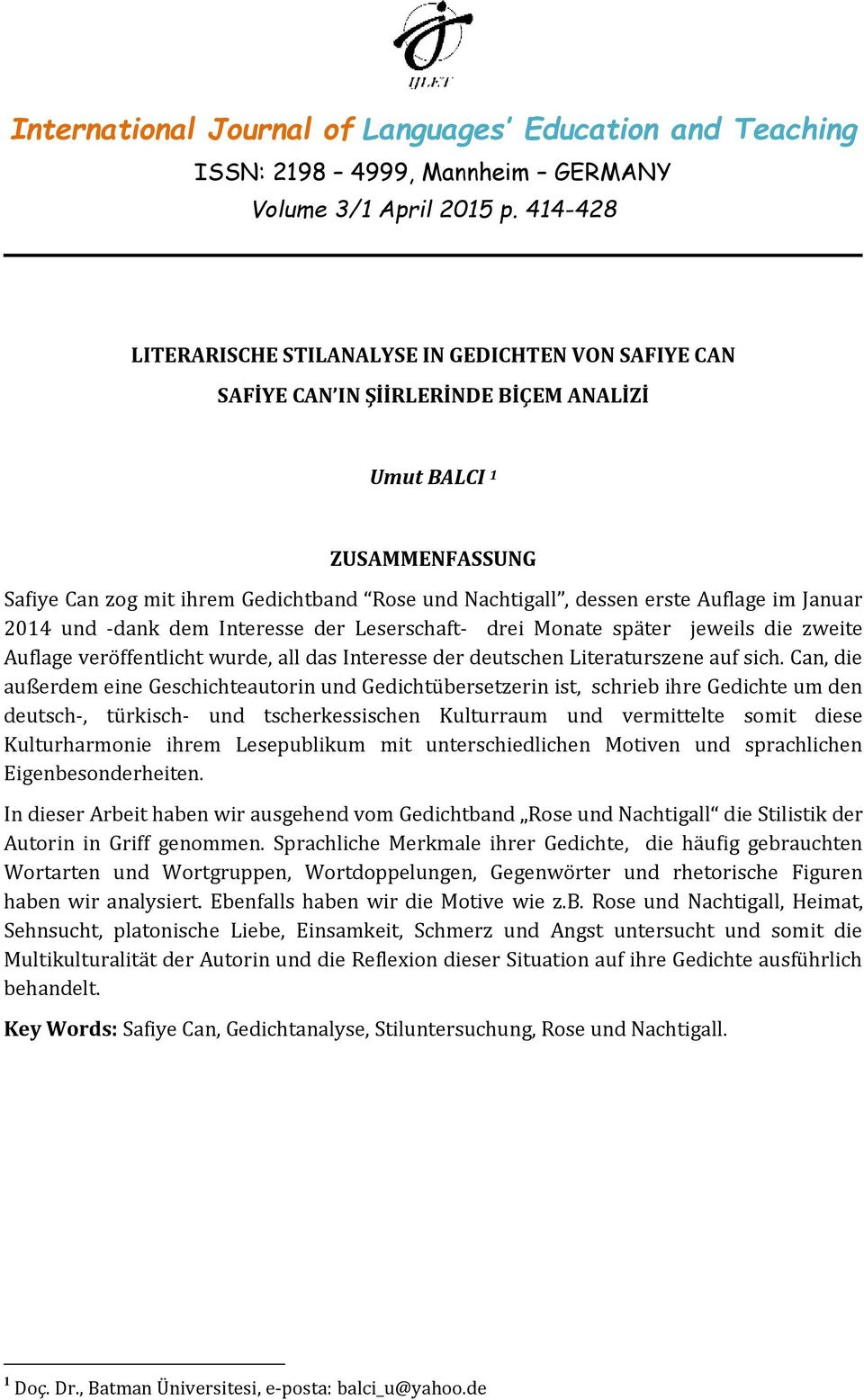 International Journal Of Languages Education And Teaching