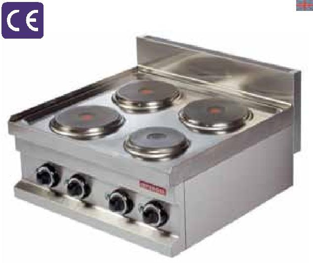EC604 400x600x265 15 0,10 2x2000 380 V, 50 Hz 460 COOKER OCAK Electric Elektrikli Control with selector switch 0-7 position 7 pozisyonlu ısıtma Round plates are available.